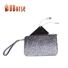 Fashion flash clutch handled pu cosmetic bag with zipper