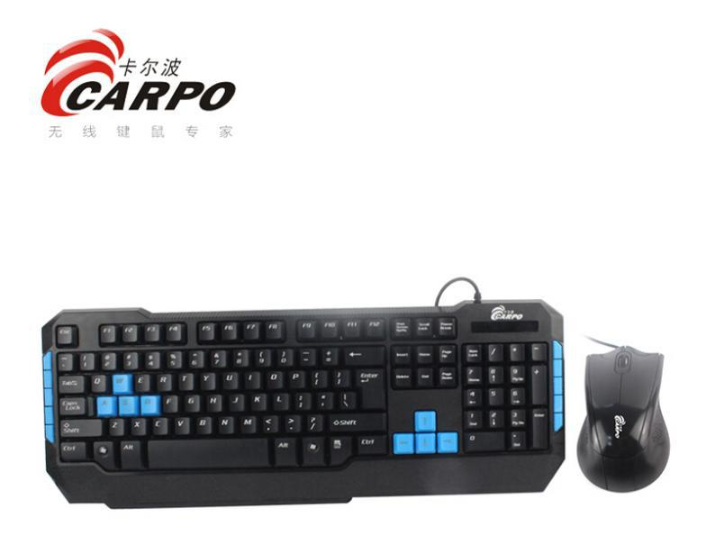 F11008 CARPO T101M Wired Combo Multimedia Gaming Keyboard PS/2 Round + USB Optical Mouse for Desktop Computer PC