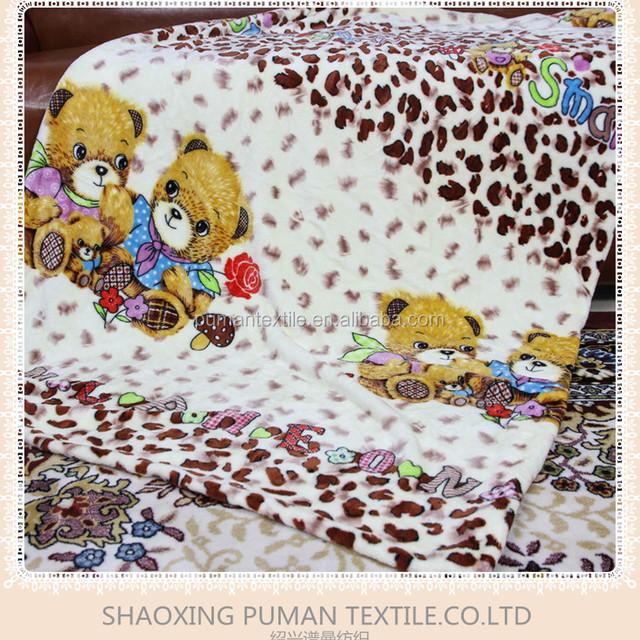 Flannel Fleece Blanket Super Soft Double Sides Fur cartoon two brothers teddy bear pattern design bright color children Blanket