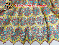embroidered silk fabric lace trim of SL10161yellow
