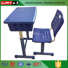 adjustable plastic desktop metal frame school furniture desk and chair