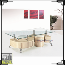 S shape glass wooden plus the seat coffee table