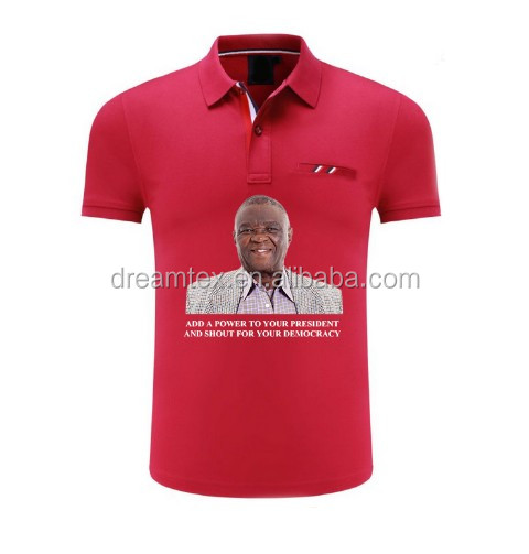 win  promotional cheap short sleeve OEM logo printed white polyester man election Campaign polo t-shirt