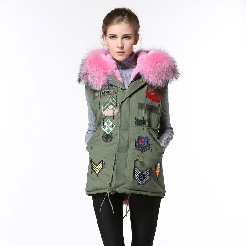 Pink Fur Parka For Ladies Waistcoat Remove sleeveless patches ladies favourite color fashion casual wear