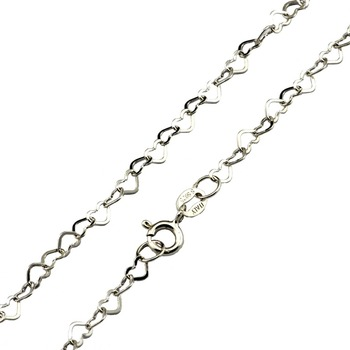 fashion jewelry simple chain design 925 sterling silver heart chain necklace