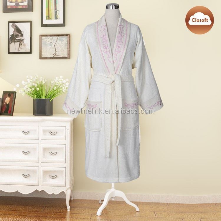 good quality night dress embroider 100 cotton hotel bath robe