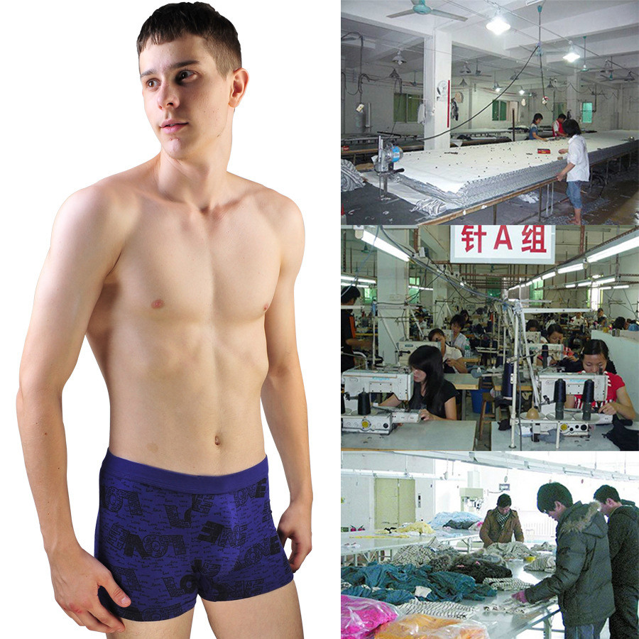 Cheap Blue Cotton OEM Boxer Breifs Customized Logo Knitted Printed Men Underwear