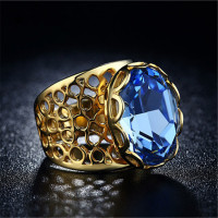 18KR016 High quality Factory outlet Yellow gold Double plated Sapphire AAA Blue Zircon rings wedding Bands Gold Rings
