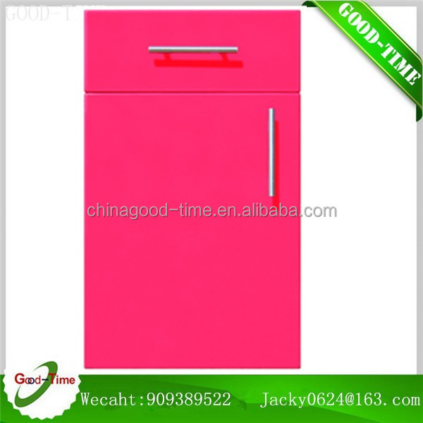 High gloss PVC thermofoil faced MDF for cheap glass door storage cabinet glass doors