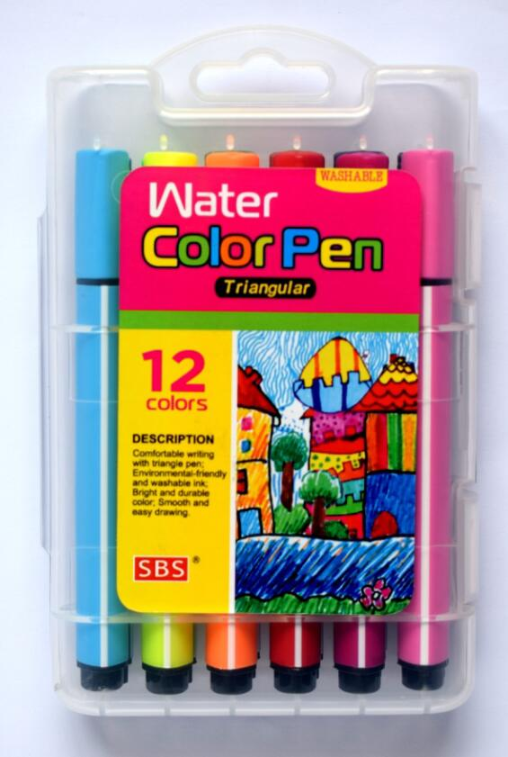 18 colors triangle washable water color pen with non-toxic ink