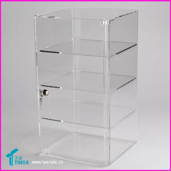 China Manufacturer Wholesale 3 Shelf mini Acrylic Display Case Tower with door lock and keys