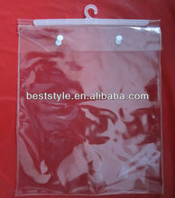 Hot selling manufacture clear pvc hook bag for garment