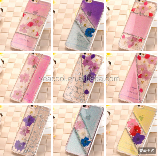 Dried Flowers And Jewelled Bling Sparkle Glitter Soft TPU Case Cover For Apple iPhone 7 /7 Plus 5.5""