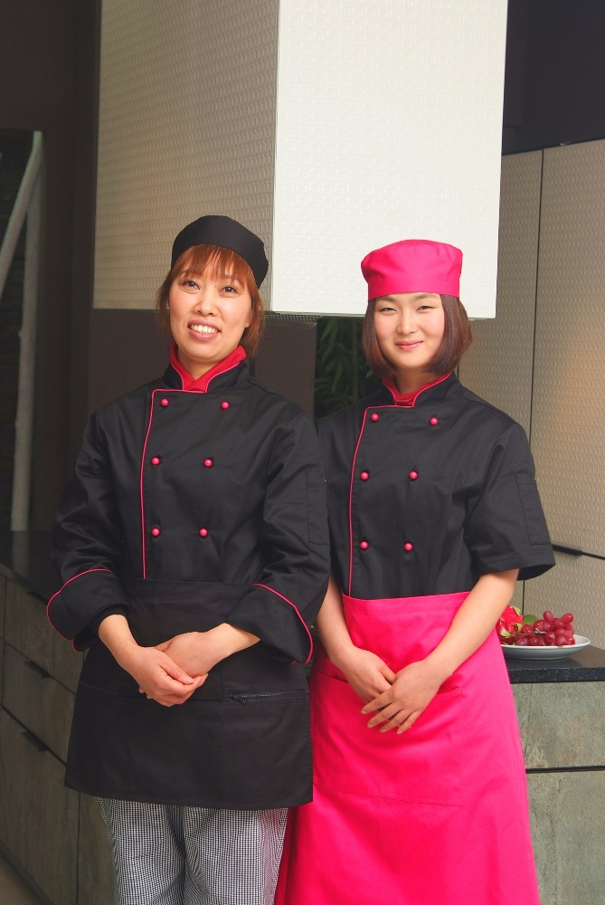Chef Yes Hotel & Restaurant Bar Woman Executive Chef Coat Black Pink Piping