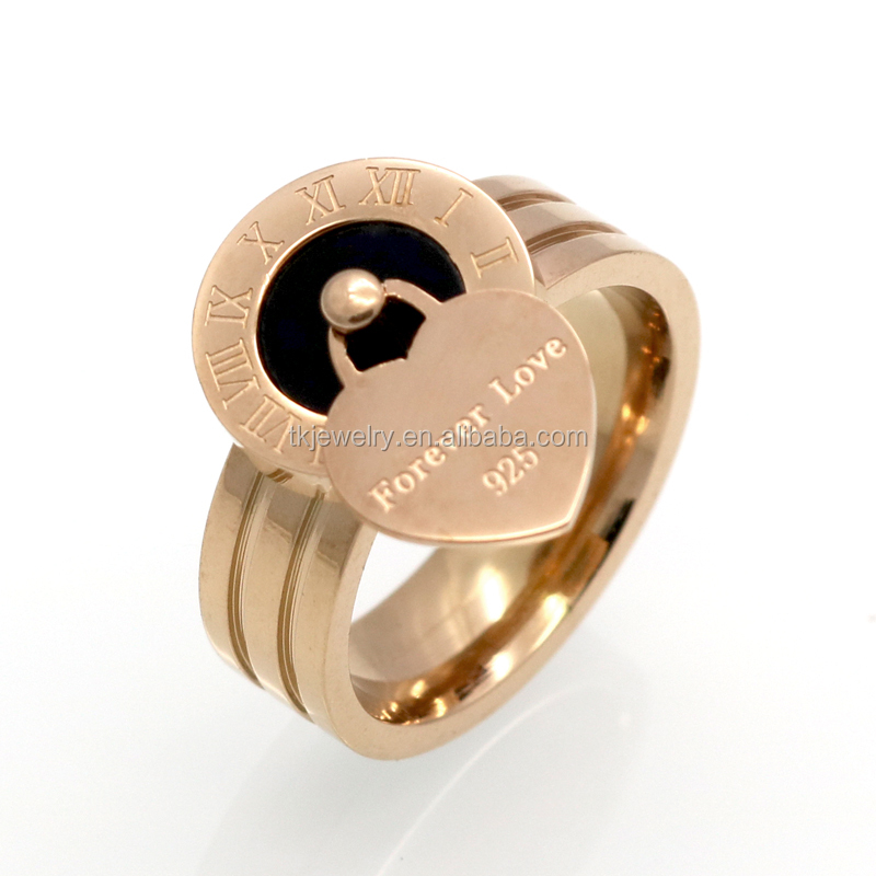 Top Sale Luxury Famous Brand Female Love Ring Tag Charm Rome Peach Heart Ring Wholesale