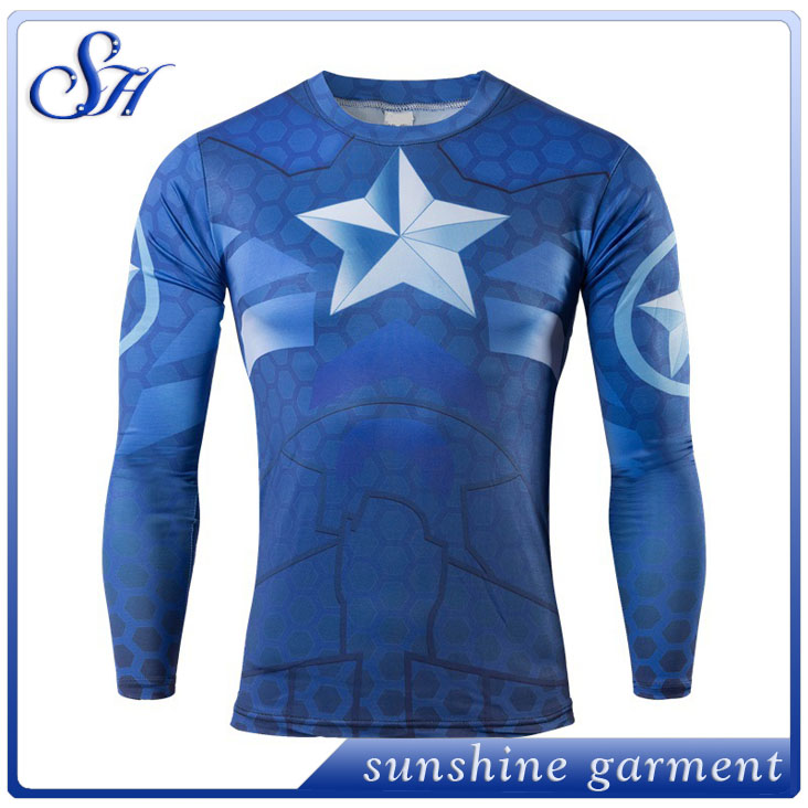 2017 wholesale Men Avengers Super Hero Iron Man Captain America Clothes long Sleeve 3D Printing t shirt