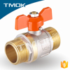 nickel plated sand blasting DN15 double union butterfly plastic handle with full port copper screw cap f/m brass ball valve