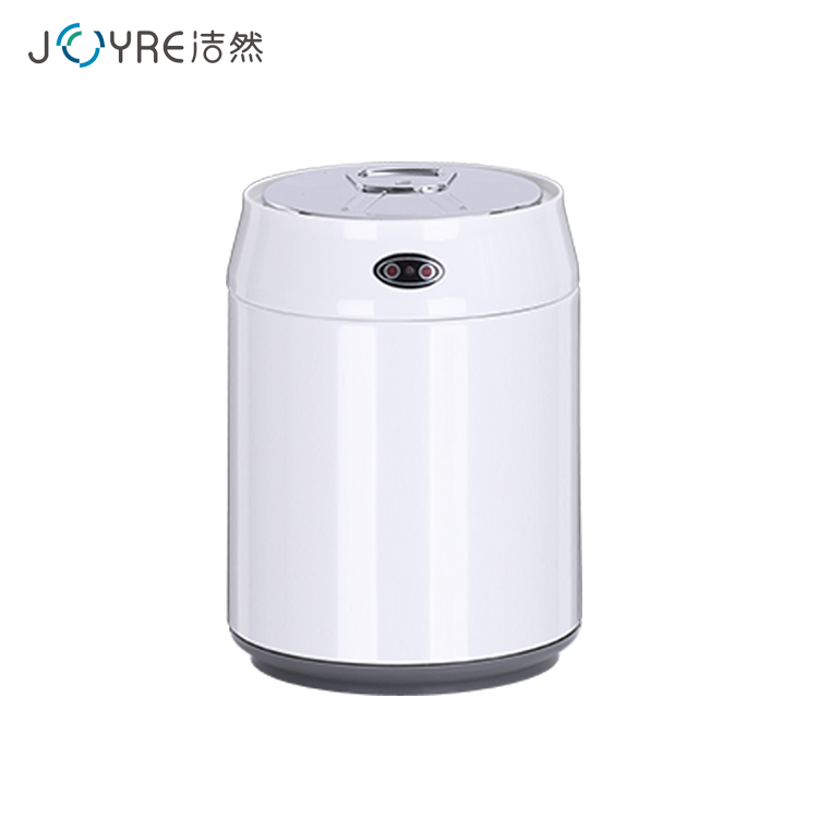 1.5 Liter white color round shape touchless mini cola can car trash bin on the desktop