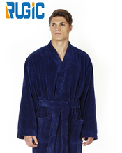 China Cheap High Quality home hotel Coral Fleece Turkish Soft Knee Length Plush Robe Men's Kimono Fleece Bathrobe