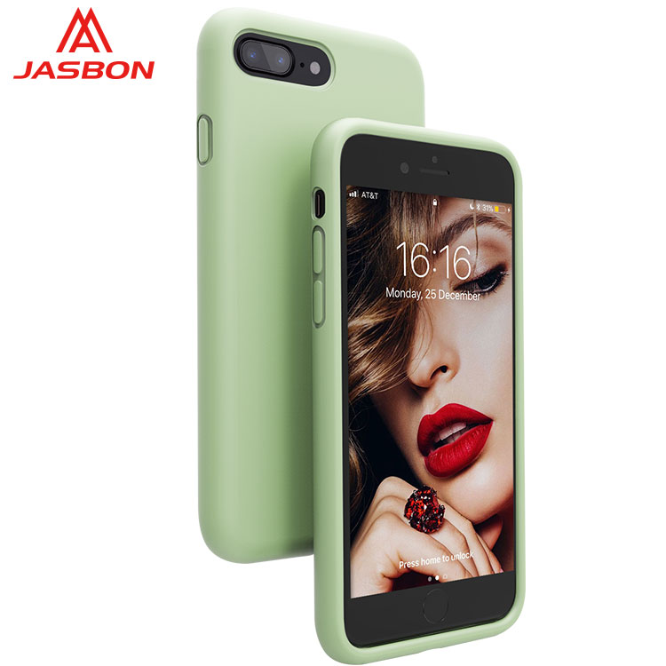 JASBON 2018 new Light green thickened custom gel phone case silicone gel phone case for iphone 7Plus case for cell phone