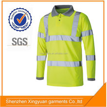 Mens 100% polyester Hi vis safety polo shirt with 3M 8906 reflective tape