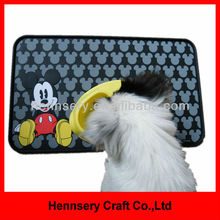 rubber OEM design logo silicone pet food mat waterproof