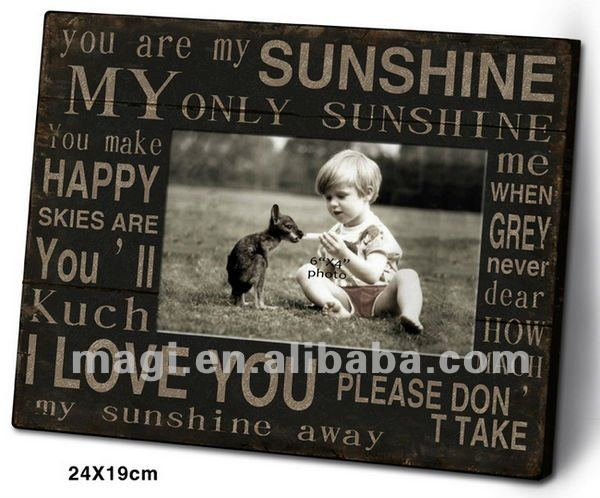 Antique Words Wood Photo Frame