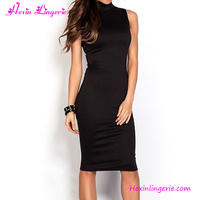 Latest Fashion Design Summer High Neck Black Bodycon Dresses