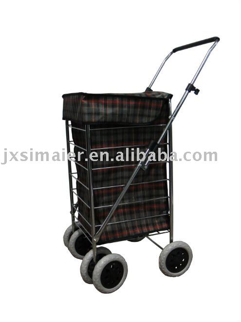 6 Wheels shopping cart with three colors plaid bag