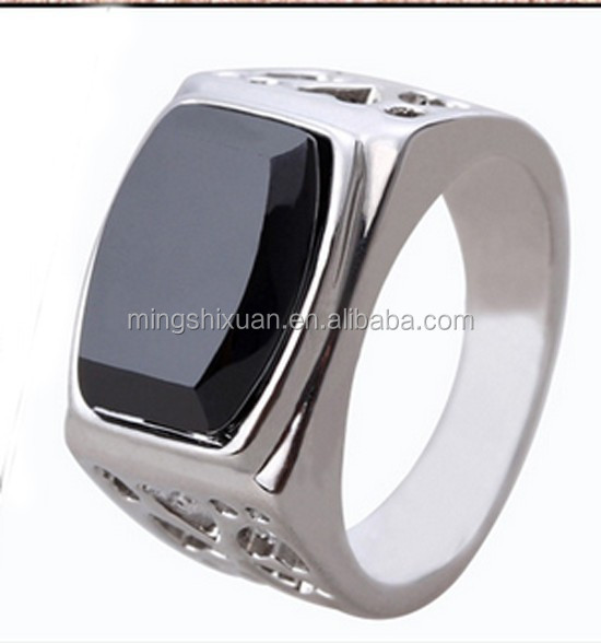 High quality CNC setting with gold plated 316 stainless steel rings for men with black stone