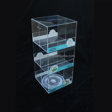 With 4 Hook 3 tier Retail Store Counter Rotating Mobile Charger Phone Case Acrylic Display Stand Case For Cellphone Accessories