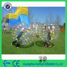 Machine heat sealing yellow dots inflatable bumper bubble balls with best quality