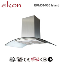 hot sale best ultra thin curved glass copper motor mechanical switch 4 LED 900mm european style recirculating island range hood