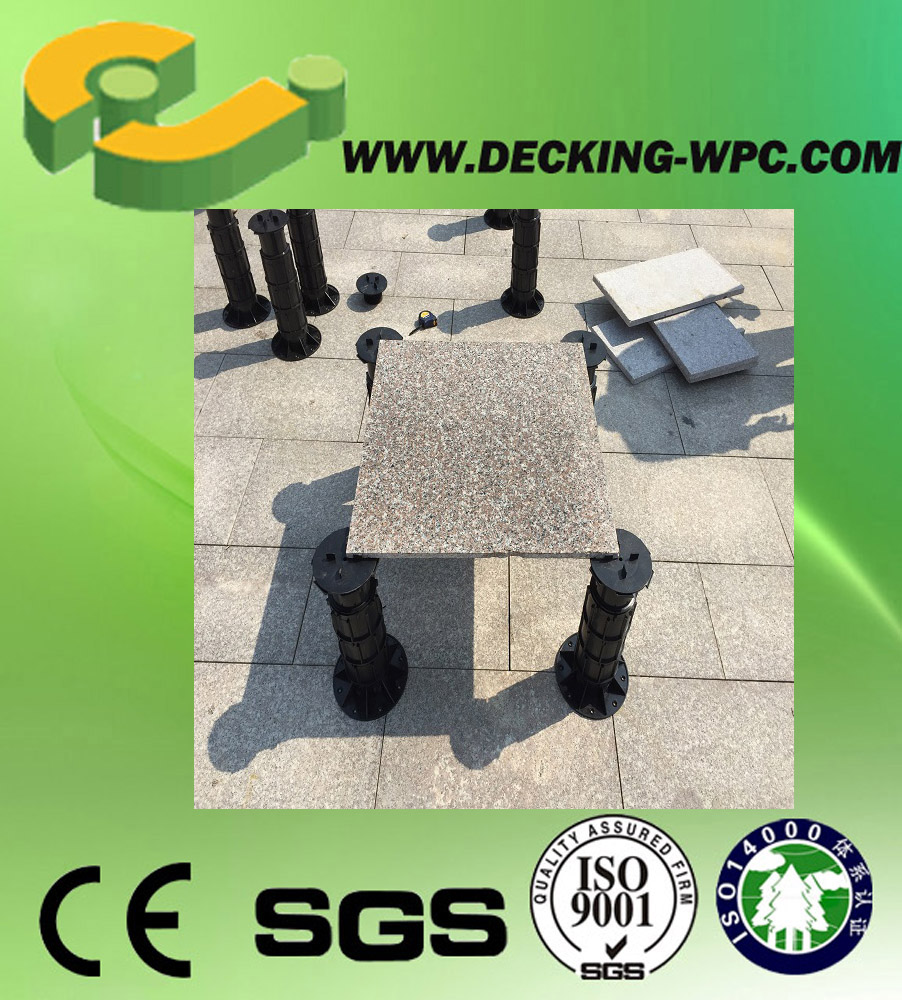 Rewarding floor pedestal system for deck