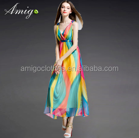 2016 mature women fashion evening dress women party maxi colorful dress wholesale order