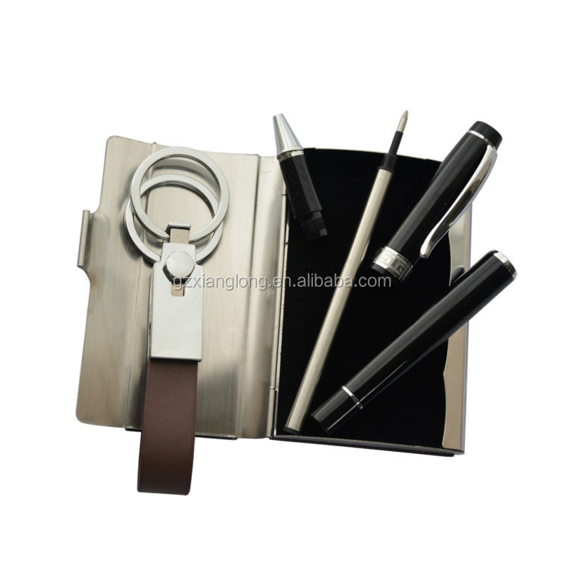GT010 Souvenir man gift sets for business man with pen and keychian and business card holder