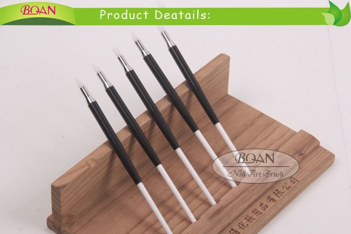 BQAN New Developed 5pcs Set Plastic and Metal Handle Painting Brush Silica Gel Nail Brush