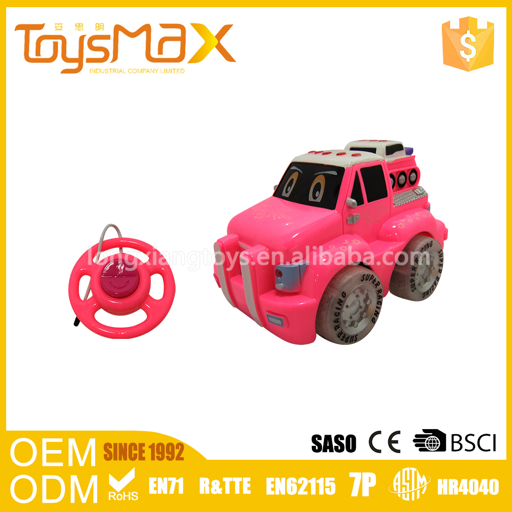 Best gift 1:24 cute cartoon engineering trailer rc small plastic toy car design for girls