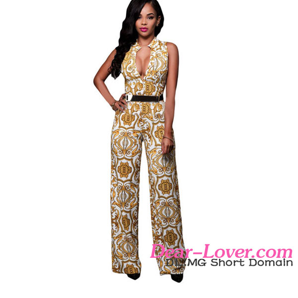 Drop Ship Sexy White Yellow Tapestry Print Belted Jump suit for women