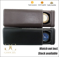 PU leather Personalized Watch Travel Case Flat Brown Leather Single Watch Drawer Case GC01-PH-1040BR