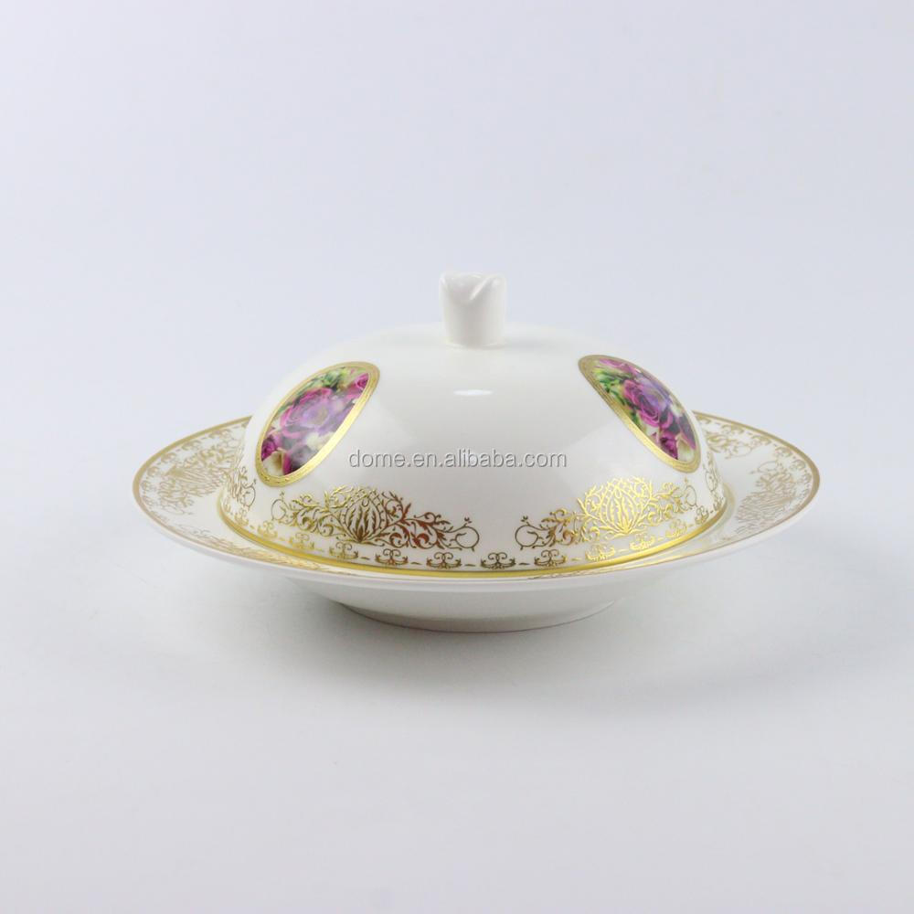 Rounded rose theme series gold rimmed ceramic cake dish with lid