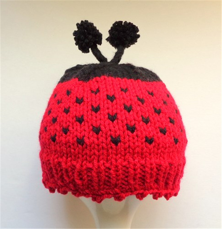 Ladybug Hat, Red with Black Dots and Antenna, Hand Knit Newborn Baby