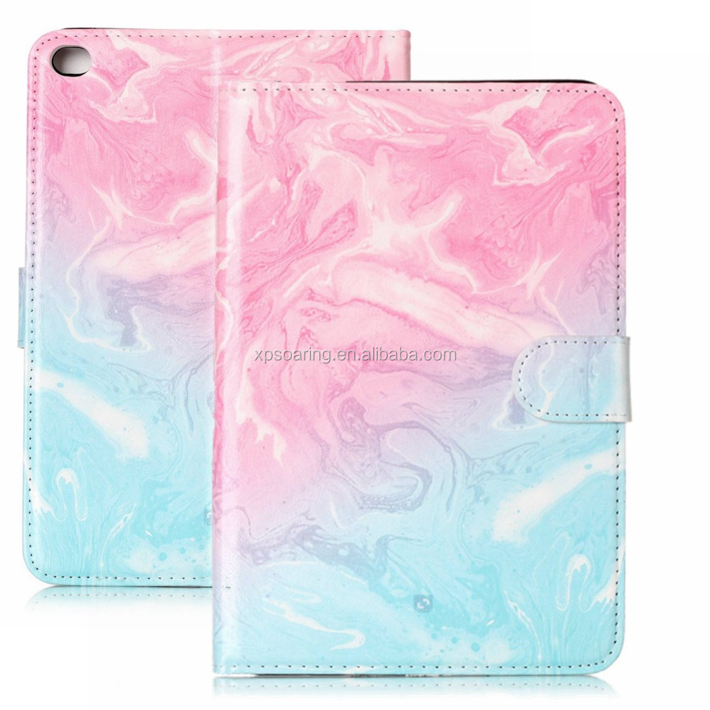 High quality wallet leather case with card slots for iPad mini 1 2 3 Marble design