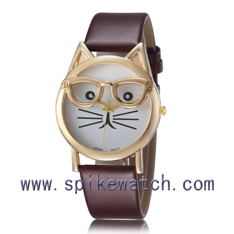 Cat Watch With Glasses Fashion Women Quartz Watches ...