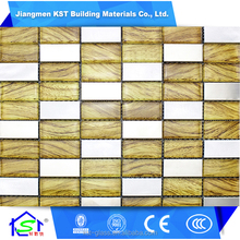 Hot !!! Flower print and stainless steel mosaic tile , Decorative exterior wall tile