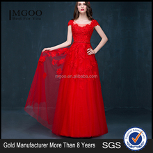 MGOO Chinese Style Stock Red Lace Wedding Dress Custom Made Muslim Long Maxi Sleeveless Formal Dress 2040