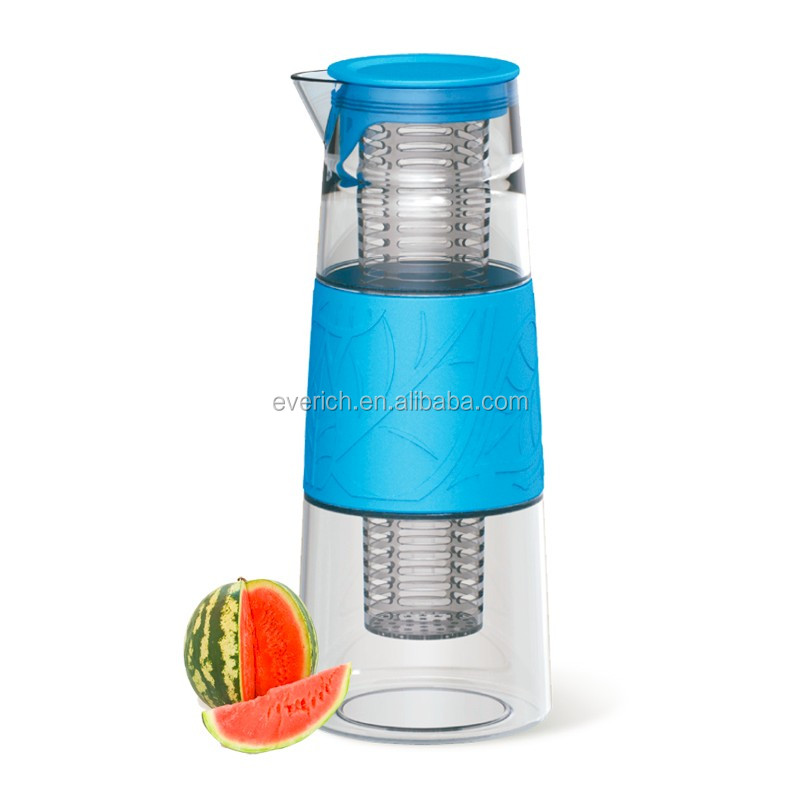1000ml Large glass fruit infuser pitcher with lid and infuser and silicone sleeve