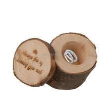 custom logo double wedding ring box wood luxury jewelry creative wooden ring box round