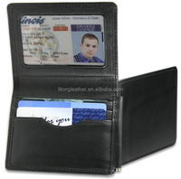 Genuine Leather Mens Slim Wallet with Money Clip and Flip ID window