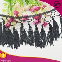 Wholesale decorative rayon long tassel fringe for dress, fringe trim